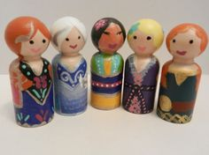 Children and adults alike will love these wooden peg princess figures! Encourage pretend play with these 2 1/2 inch tall, hand-painted, and sealed people. Set of 11 pegs includes... Anna, Elsa, Rapunzel, Mulan, Tinkerbell, Snow White, Cinderella, Ariel, Belle, Jasmine, and Merida! Dont see your favorite princess? I love custom orders! Message me for details!  I make each item in the shop with love, so no two made-to-order pegs will be perfectly the same. Slight differences may occur from the…