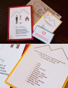 pixel wedding invite