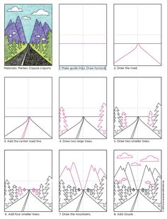 Draw a Vanishing Point Road. Free PDF download available. #landscape #howtodraw