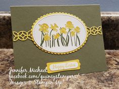 Stampin' Up! You're Inspiring Daffodils in Always Artichoke and Daffodil Delight