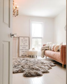 Shop for Sheepskin rug at Arhaus. Home Bedroom, Master Bedroom, Bedrooms, Bedroom Ideas, Living Room Decor, Living Spaces, Living Rooms, Sheepskin Rug, Room Accessories