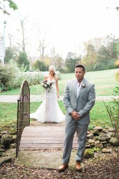 Adorable first look: http://www.stylemepretty.com/tennessee-weddings/nashville/2016/03/24/rustic-fall-wedding-at-nashvilles-cedarwood/ | Photography: Julie Paisley - http://juliepaisley.com/