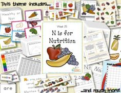 N is for Nutrition Themed Unit-Preschool Lesson Plans - Distance Learning Preschool Science, Preschool Lessons, Preschool Ideas, Nutrition Activities, Nutrition Guide, Nutrition Plans, Sports Nutrition, Daycare Lesson Plans, Infant Toddler Classroom