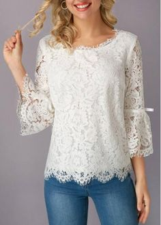 Lace on lace! Obsessed with the romantic Flare Sleeve White Eyelash Lace Blouse. Trendy Tops For Women, Blouses For Women, White Lace Blouse, Lace Dress, Blouse Styles, Blouse Designs, Sewing Blouses, Women's Blouses, White Eyelashes
