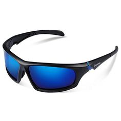 Duduma Tr601 Polarized Sports Sunglasses for Baseball Cycling Fishing Golf Superlight Frame (639 Black matte frame with blue lens).