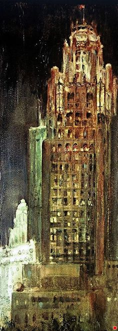 "TRIBUNE TOWER ICON by Ingrid E. Albrecht Mixed media ~ 11.0"" x 4"""