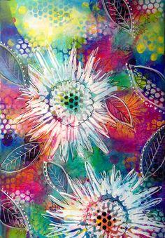 Mixed media art journal page. Helen Cook