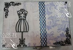 Caixa de Costura Scrapbook e aplique de MDF (superior)