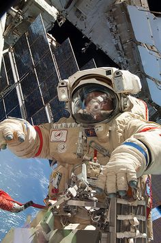 Russian cosmonaut Fyodor Yurchikhin during an 'extravehicular activity' (EVA) at the International Space Station on 24 June 2013. During the spacewalk, which lasted six hours and 34 minutes, Yurchikhin and cosmonaut Alexander Misurkin replaced an ageing control panel for the cooling system of the Russian Zarya module. Photo credit: ISS/NASA