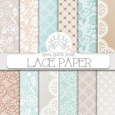 """Lace Digital Paper: """"LACE PAPER"""" with lace background, mint lace, beige lace, lace pattern for scrapbooking, cards, invitations #mint #lace #digitalpaper #scrapbookpaper #wedding"""