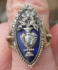 The Forget Me Not Blue Enamel Diamond Ring Navette
