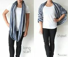 Long scarf into a shawl
