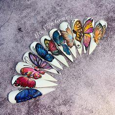 Butterfly Nail Designs, Butterfly Nail Art, Nail Art Designs, Sculpted Gel Nails, Super Cute Nails, Summer Acrylic Nails, Nail Inspo, Love Nails, Nail Artist