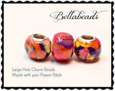 Large Hole European Style Bead / Flower Petal Jewelry / Memorial Beads / Funeral Flowers