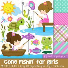 Niñas de pesca Set de Clip Art y Papeles por pixelpaperprints