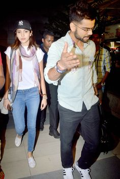 Virat Kohli and Anushka Sharma at Mumbai airport. #Bollywood #Fashion #Style #Beauty
