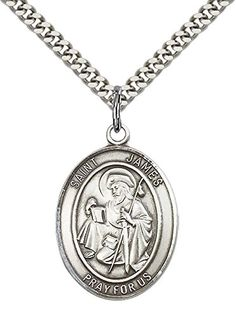 Sterling Silver St James the Greater Pendant with 24 Stainless Steel Heavy Curb Chain Patron Saint of Against ArthritisSpain ** To view further for this item, visit the image link.Note:It is affiliate link to Amazon. #NecklacesCollection