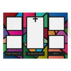 Customizable 5 Photo 'Stained Glass' Holiday Card #cards #christmascard #holiday