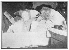 Mark Twain in bed.  Now I have no excuse to get out of it.