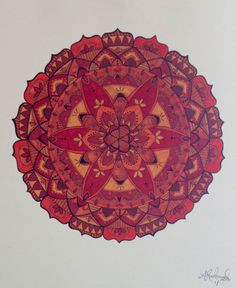 A beautiful hand drawn mandala, featuring many intricate details within the overall design, including a flower of life in the center. Mandala is filled with warm reds, oranges and yellow. Mandala was drawn using sharpie and micron pens, and colored in with Prismacolor art markers. This is a professional print on 80lb card stock. Print is mailed with cardboard backing and in sturdy mailer to ensure safe arrival to your home. www.etsy.com/shops/abrakaydabra