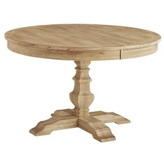 Traditional meets subtle rustic for casual or formal dining. Crafted of hardwoods, our handsome Bradding extension table comfortably seats up to six (with leaf) and features a brushed finish and an urn-shaped pedestal base. When not needed, remove the leaf and enjoy a more compact round table (seats four). Exclusively Pier 1.