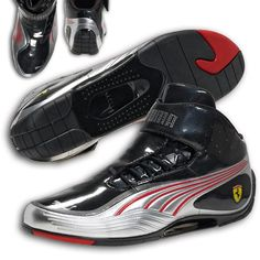 Puma Ferrari Super Light Tech Mid SF Shoes Black Silver