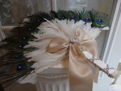 RUSH ORDER Peacock and Ostrich Feather fan in Black by Ivyndell, $60.00