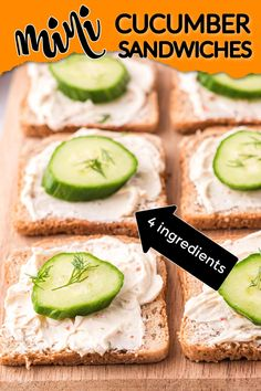 These mini cucumber sandwiches only use 4 simple ingredients and they are always a hit at every party or holiday. #amandascookin #cucumbersandwiches #openfacecucumbersandwiches Cucumber Canning, Cucumber Recipes, Yummy Appetizers, Appetizer Recipes, Flavored Whipped Cream, Mini Cucumbers, My Recipes, Favorite Recipes, Cucumber Sandwiches