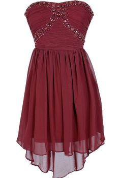 Beads of Light Embellished High Low Dress in Burgundy  www.lilyboutique.com