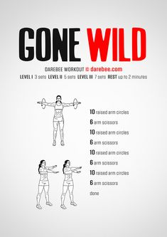 Gone Wild is an upper body workout that looks deceptively easy but really it is not. Begginer Workout, Arm Workout No Equipment, Leg Workout At Home, Darbee Workout, Workout Kettlebell, Workout Regimen, Boxing Workout, Workout Routines, Cardio