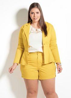 Blazer Clássico Quintess (Amarelo) Plus Size