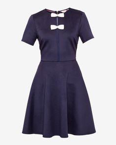 Double bow skater dress - Dark Blue | Dresses | Ted Baker