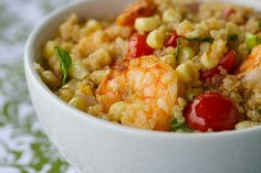 Quinoa and Shrimp with Fresh Corn and Cherry Tomatoes.  I made this and it is delicious!