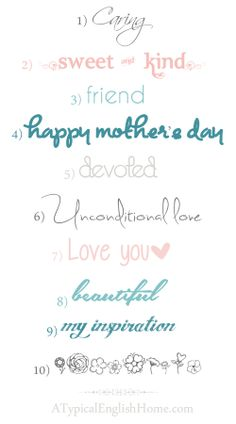 A Typical English Home: Mother's Day Fonts ~~ {10 Free Fonts w/ links}