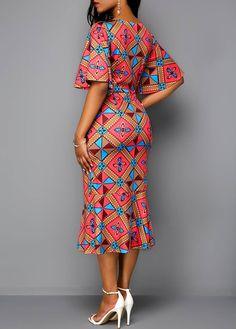 Tribal Print Butterfly Sleeve V Neck Dress | Rotita.com - USD $32.97