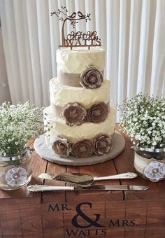 Rustic buttercream wedding cake Lane Cake, Buttercream Wedding Cake, Wedding Cakes, Rustic, Desserts, Food, Wedding Gown Cakes, Country Primitive, Tailgate Desserts