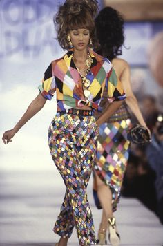 RISD Museum Announces Todd Oldham Retrospective -- Tyra Banks in Harlequin Ensemble, Spring 1993. DAN LECCA/ COURTESY OF THE TODD OLDHAM STUDIO