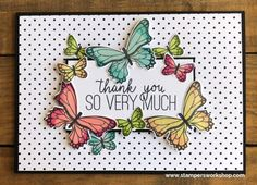 Stampers Workshop - Creating the day away Super cute and pretty Thank You card using the Butterfly Gala stamp set by Stampin' Up!Hi everyone, one of the things I love about stamping is that I can express my artistic side even when I cannot paint or d Pretty Cards, Cute Cards, Diy Cards, Your Cards, Making Greeting Cards, Greeting Cards Handmade, Butterfly Cards Handmade, Stampin Up, Stamping Up Cards