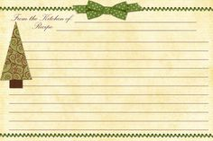 Free Printable Card Inserts. Free Printable Christmas Recipe Cards