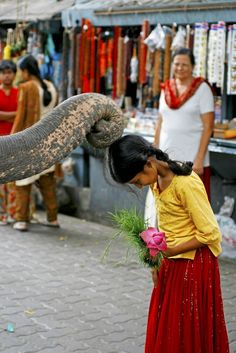 Girl receiving her blessing by Ganesh, the elephant god