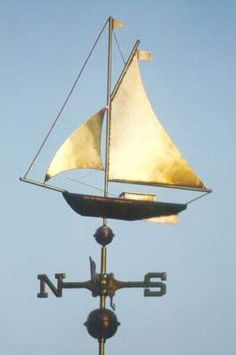 Traditional Sailboat Weather Vane by West Coast Weather Vanes. This handcrafted Sailboat weather vane can be custom made using a variety of metals and optional leafing. Weather Vain, Lightning Rod, Old Farm Equipment, New England Style, Garden Structures, Beach House Decor, Coastal Style, Nautical Theme, Kids House