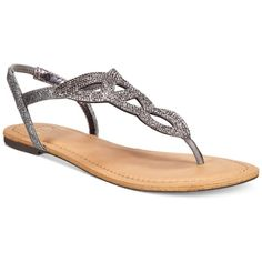 Material Girl Swirlz T-Strap Flat Sandals, ($40) ❤ liked on Polyvore featuring shoes, sandals, pewter, embellished flat sandals, sparkly flat sandals, flat sandals, pewter sandals and polish shoes