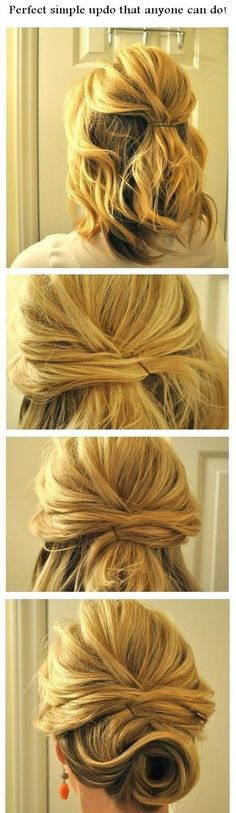 If you have short hair, criss-cross hair for a messy bun effect.