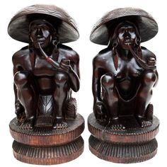 Rare Large Antique Ebony Wood Statues - Vintage - Sale by Category - Sale Wood Sculpture, Sculptures, African Wood Carvings, Round Hat, Scale Art, Indian Artist, Cat Sitting, How To Antique Wood, Old Art