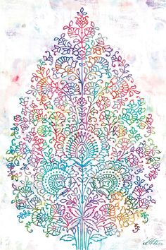 Paisley Tree  Giclee print on canvas  huge 24x36 by UrbanRoad, $195.00