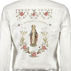 Personalized print back jeans jacket white Fabric Design, Blouse, Jeans, Long Sleeve, Sleeves, Jackets, Tops, Women, Fashion
