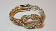 Gold and Silver Beaded Kumihimo Bracelets by JasmineTeaDesigns, $125.00