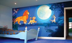 Lion King Nursery Decor - Lion King of Disney is an ideal starting point to turn a child's room into a wonder of the jungle and animal decoration. Kids Room Murals, Murals For Kids, Bedroom Murals, Bedroom Themes, Bedroom Ideas, Kids Bedroom, Bedroom Designs, Room Kids, Baby Bedroom