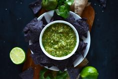 Homemade Roasted Tomatillo and Pineapple Salsa | Our complimentary chips and salsa included a tomatillo and pineapple variety that I hadn't tried before. One bite was all I needed to try and commandeer that part of the sampler. My husband told me I could make it better. Challenge accepted. | From: dietsinreview.com