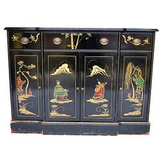 Pre-Owned Chinoiserie Small Buffet ($1,299) ❤ liked on Polyvore featuring home, furniture, storage & shelves, sideboards, display shelf, storage shelf, black shelving, drawer shelf and drawer shelves